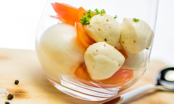 Eier im glas mit bambini mozzarella mini und schnittlauch - Eier kochen dauer ...