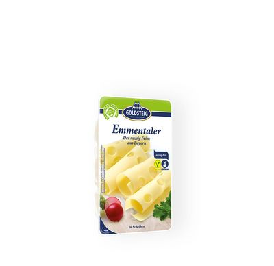 Emmentaler Slices made by GOLDSTEIG shown packaged