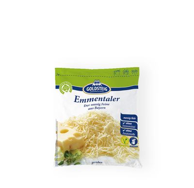 Emmentaler Grated made by GOLDSTEIG shown packaged